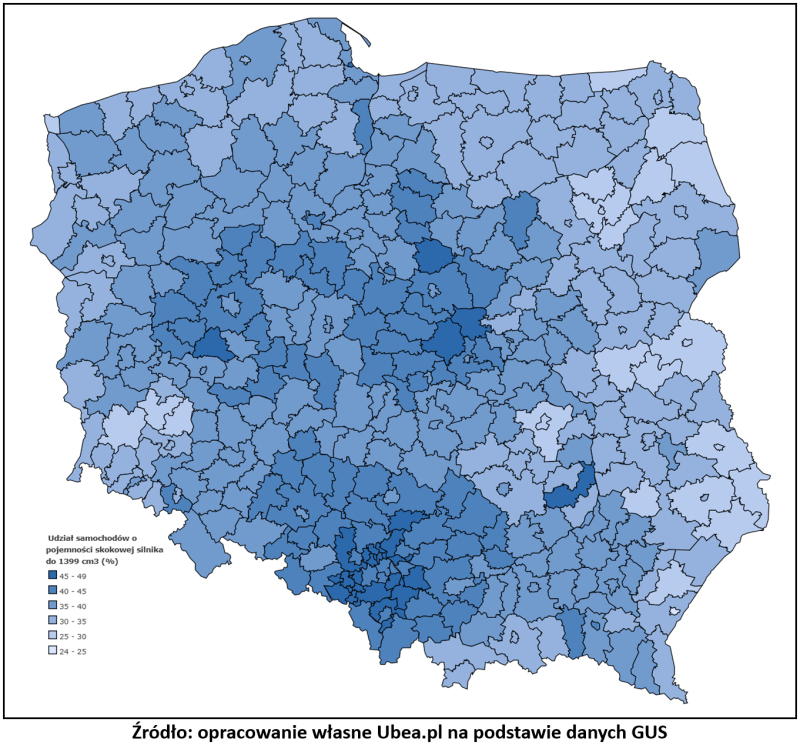 Mały silnik - mapa popularności Ubea