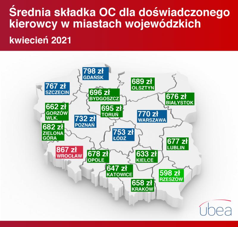 Cena OC w miastach wojewódzkich - kwiecień 2021