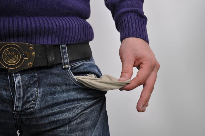 Pusta kieszeń - brak pieniędzy