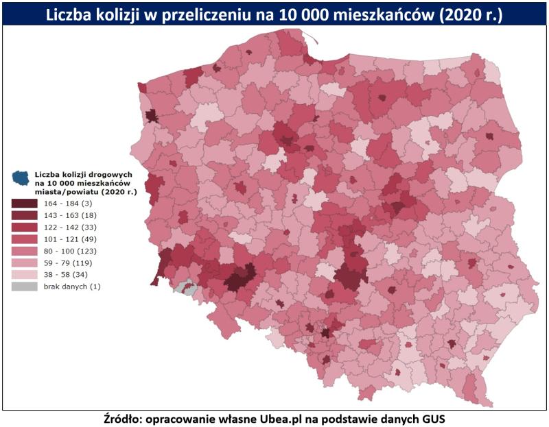 Stłuczki w Polsce - tabela Ubea