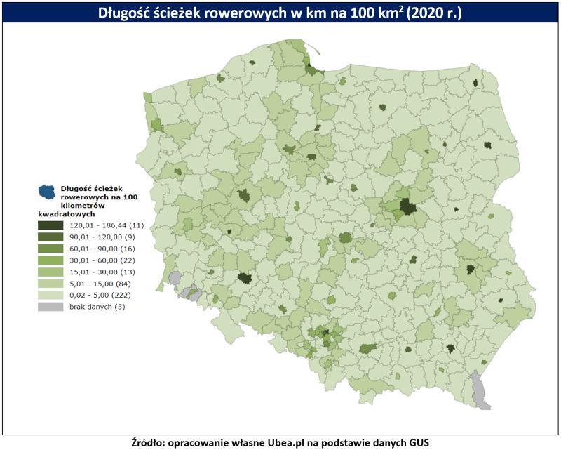Ścieżki rowerowe - mapa Ubea